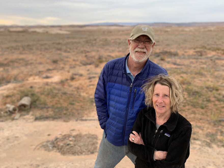 Photo of Bluff Mayor Ann Leppanen and Bluff Town Councilman Brant Murray standing in redrock country.