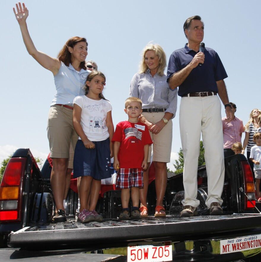 Sen. Kelly Ayotte, R-N.H., is joined by her children, Katherine and Jacob, in campaigning with Mitt Romney on July 4 in Wolfeboro, N.H.