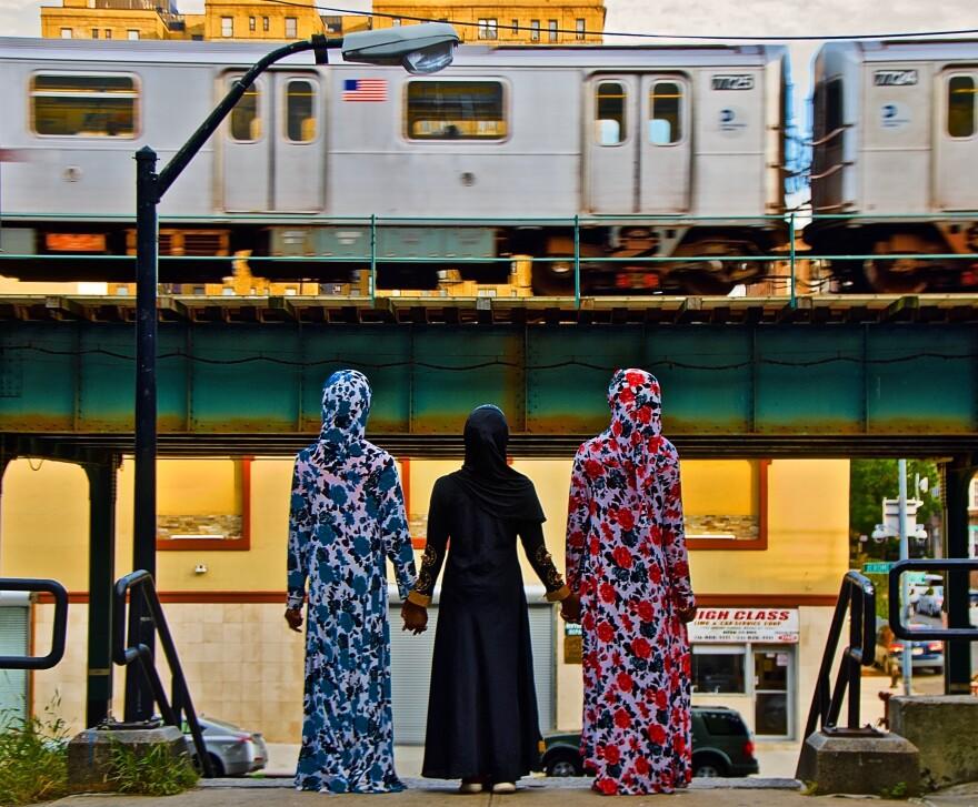 <em>3 Muslim Girls,</em> W. 174 St. and Jerome Avenue steps, The Bronx, Oct. 13, 2019, 4:55 p.m., 67 F