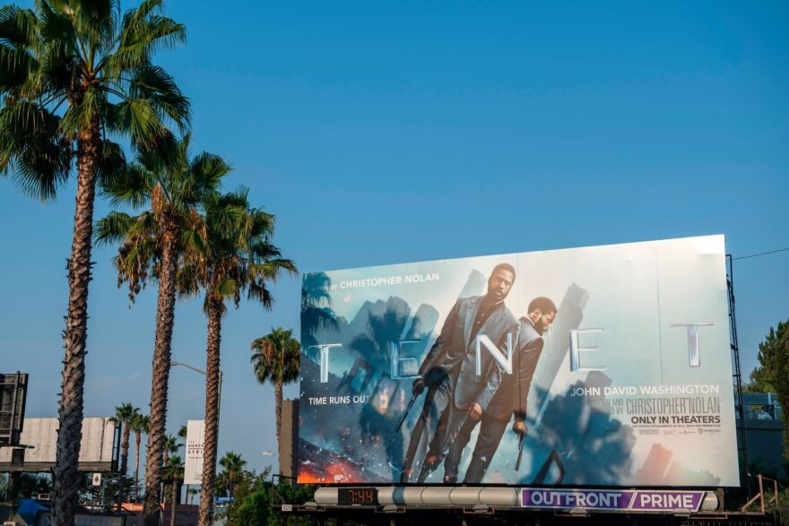 """A billboard for Christopher Nolan's film """"Tenet"""" on the Sunset Strip in West Hollywood, California. The film was released earlier this month to a limited number of movie theaters."""