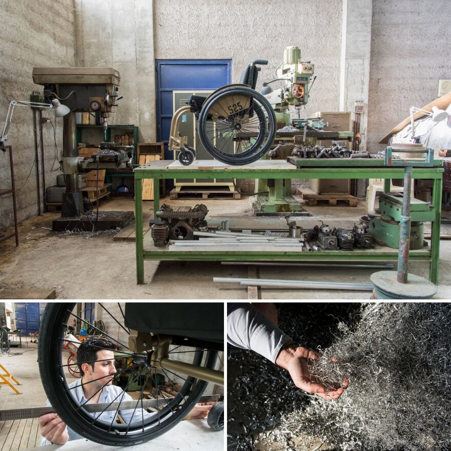 Top: A completed wheelchair sits on a bench at the 525 Handmade Wheelchairs factory in Markopoulo, about 20 miles outside of Athens. Left: Faidros Panagopoulos, owner of 525 Handmade Wheelchairs, measures the length of the wheelchair to see if everything is perfect. Right: Panagopoulos holds aluminum shavings made in the wheelchair-building process.