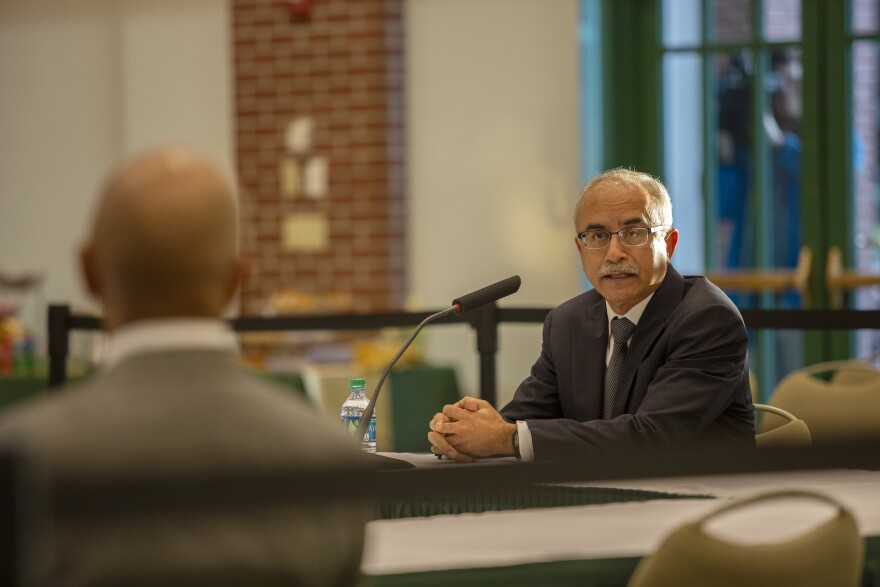 Deba Dutta, former Chancellor for Rutgers University, speaks to USF Trustees Friday morning.