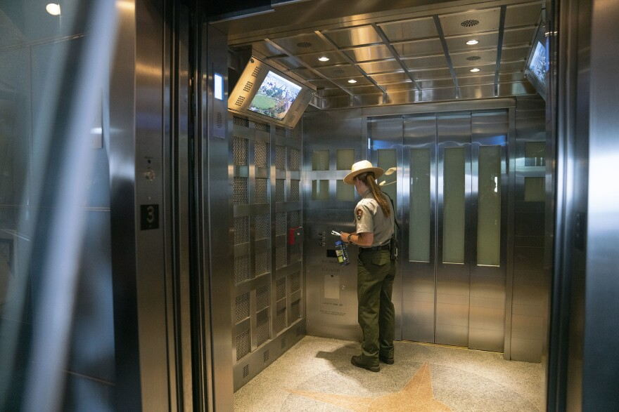 The newly designed elevator was paid for by a donation from philanthropist David Rubenstein.