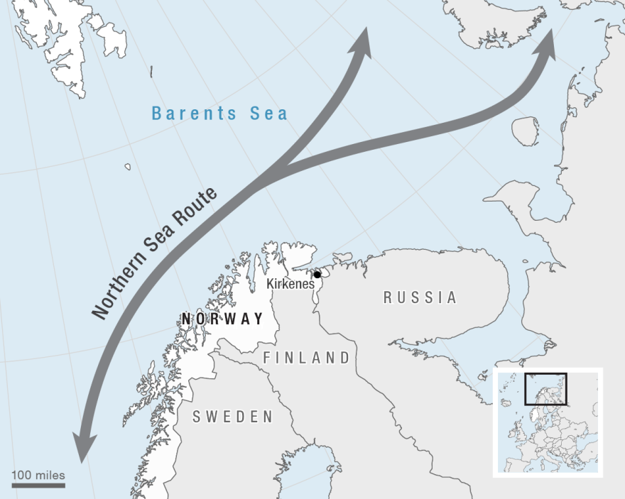 The Northern Sea Route is approximate.