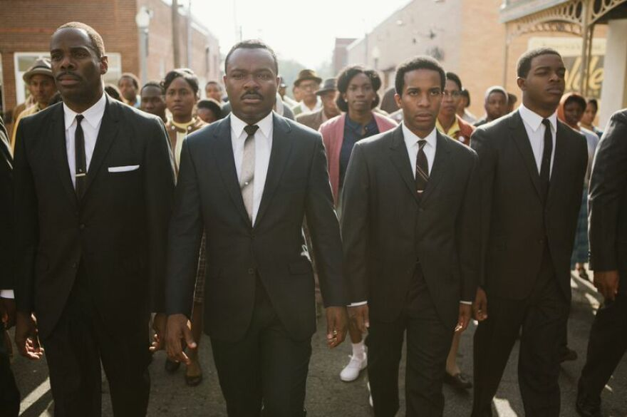 <em>Selma</em> portrays a period of history when<em> </em>Martin Luther King Jr. led marches to demand rights for black people who were systematically prevented from registering to vote in the South. Coleman Domingo (from left) plays Ralph Abernathy, David Oyelowo plays Dr. Martin Luther King Jr., Andre Holland plays Andrew Young and Stephan James plays John Lewis.