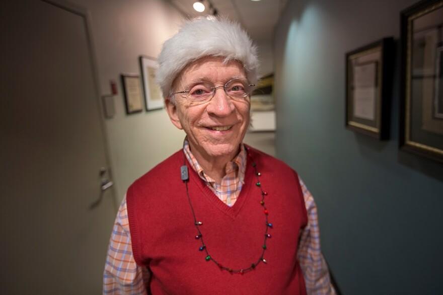 Ron Cohen, Robin Young's former choirmaster, at the WBUR studios. (Jesse Costa/WBUR)