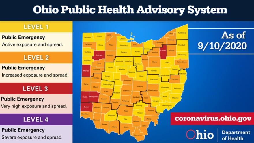 COVID-19 alert map as of September 10, 2020.