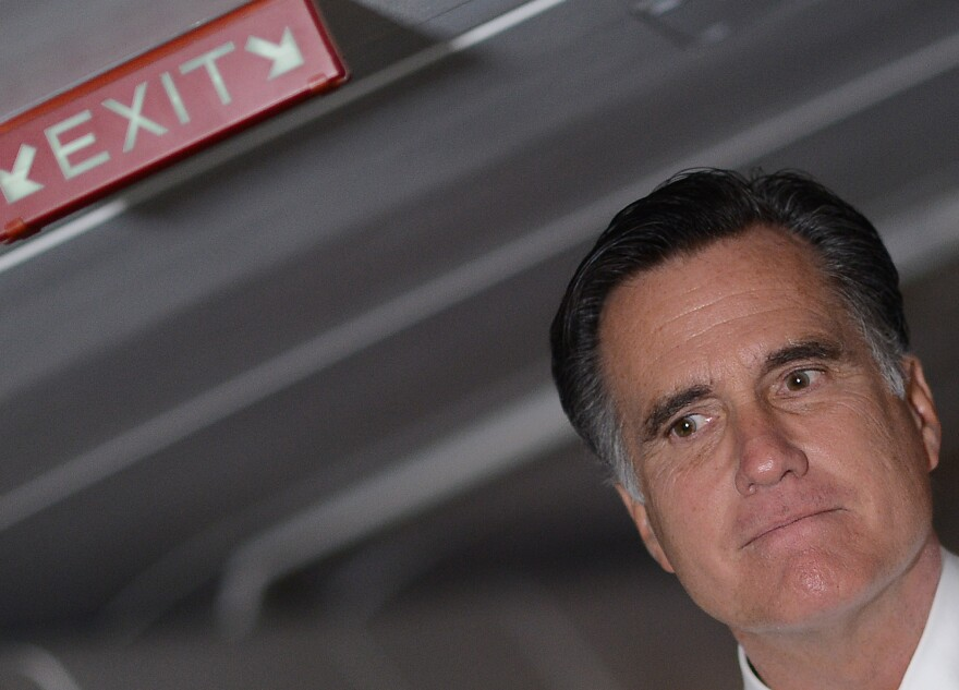 """Mitt Romney talks to reporters on his campaign plane on Election Day. """"I'm very proud of the campaign we've run,"""" he said. """"No campaign is perfect."""""""