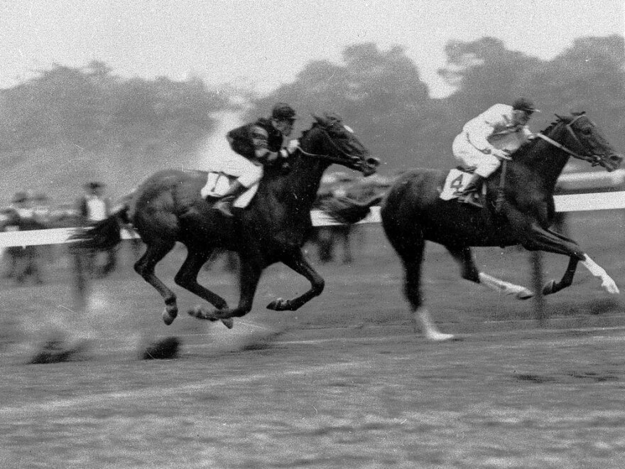 The 1919 Sanford Memorial at Saratoga was the only race the legendary thoroughbred Man O'War (No. 1) didn't finish first.  He was beaten by the aptly named Upset (No. 4).