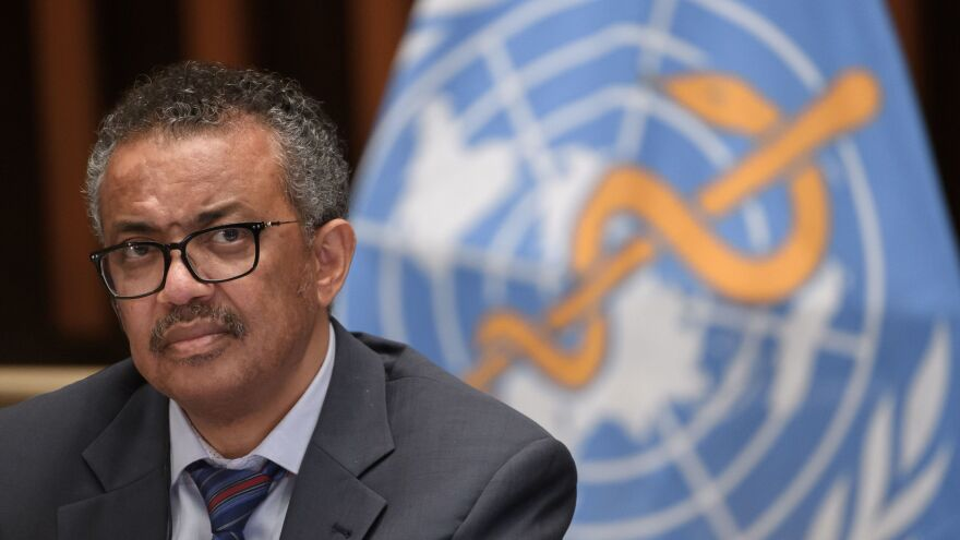 "World Health Organization Director-General Tedros Adhanom Ghebreyesus at a meeting last week at WHO headquarters in Geneva. Tedros says the coronavirus ""thrives on division."""