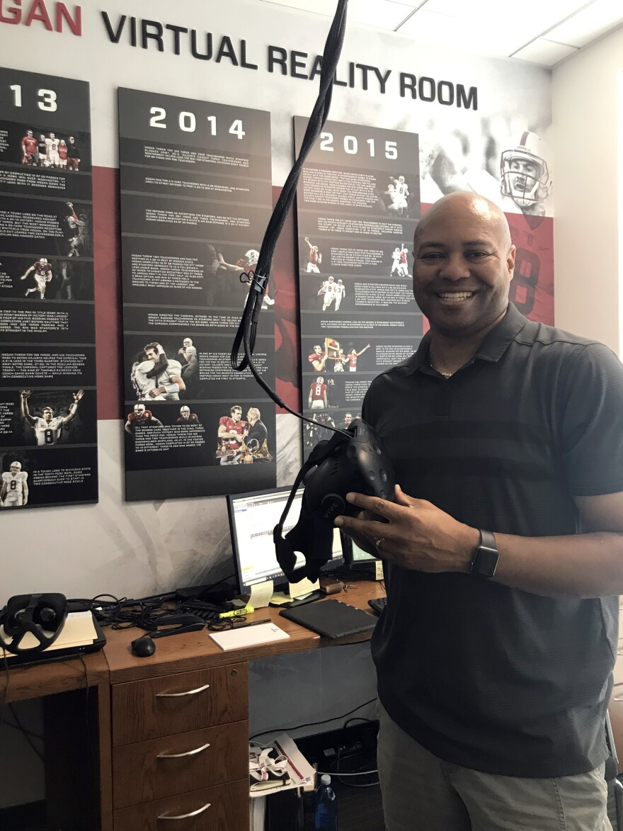 """Stanford football coach David Shaw says virtual reality training has helped his team. """"Their brain is seeing these visuals, these different formations and motions and plays and defenses,"""" he says of players using VR. """"The more they see them,<strong> </strong>the quicker they react."""""""