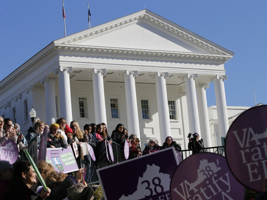 Equal Rights Amendment supporters demonstrate outside the Virginia State Capitol in Richmond on Wednesday, when the 2020 session of the Virginia Legislature began.