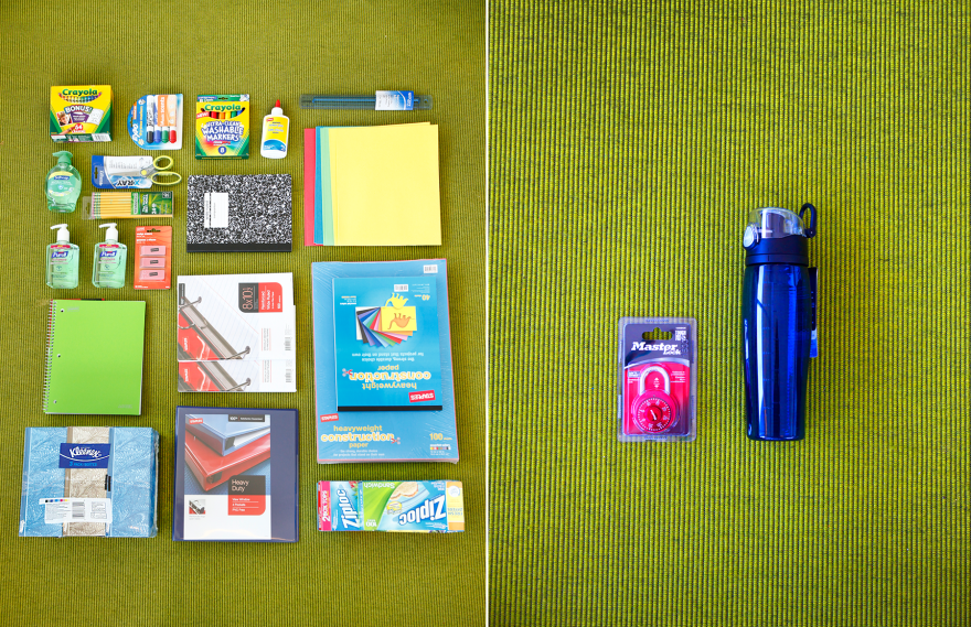 On the left, supplies on the back-to-school list for third-graders in Arlington, Texas; on the right, the items fifth-graders need in Palmer, Alaska.