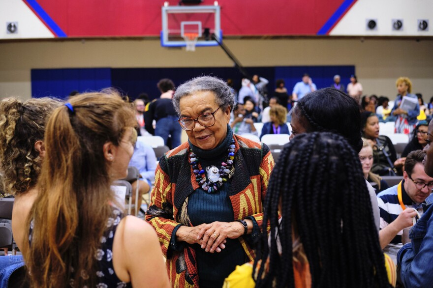 Marian Wright Edelman (center) talks to some of the young people she hopes will become part of a new generation of social justice activists.