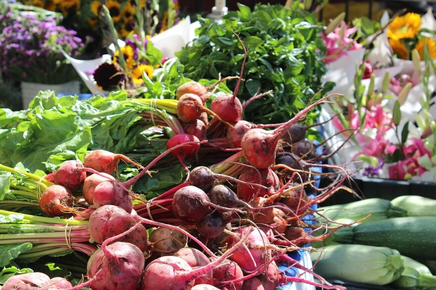 beets at a farmers market