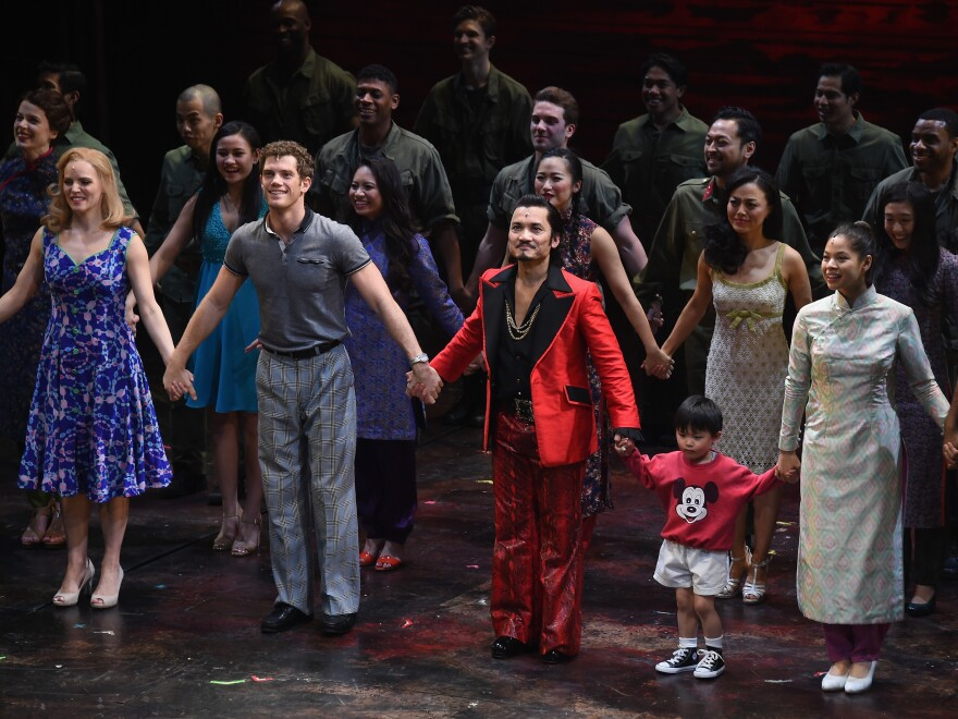 "The cast of ""Miss Saigon"" takes part in the curtain call on opening night at the Broadway Theatre on March 23, 2017 in New York City."