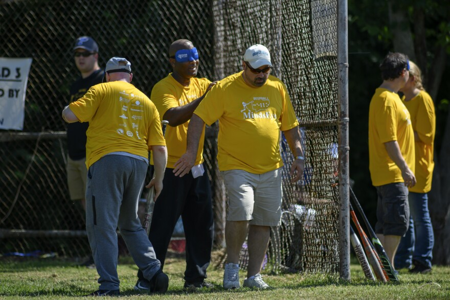 Anthony Easley (wearing the blindfold), who has been blind since he was 20, was the tournament's most valuable player last year. July 13, 2019