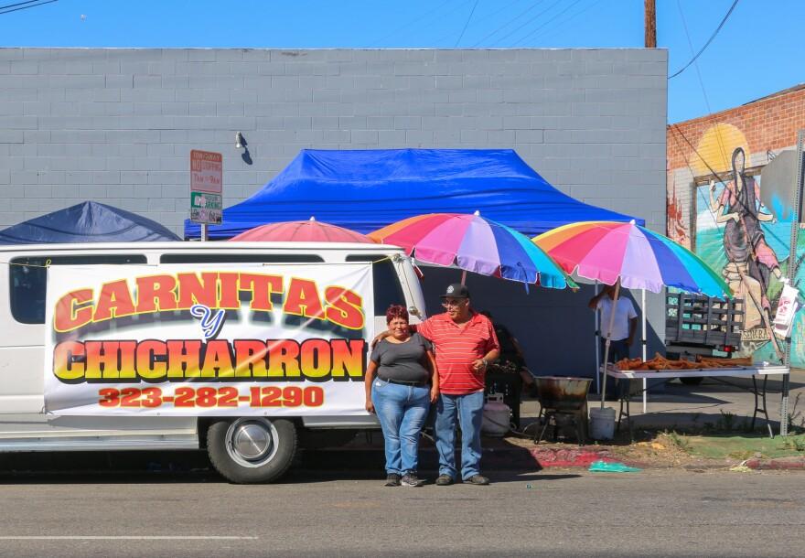Estela and Enrique Peralta fry chicharrón in LA's Piñata District.