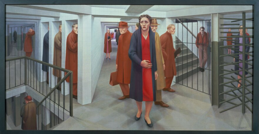George  Tooker, 1920 - 2011, <em>The Subway</em>, 1950. Egg tempera on composition board. Whitney Museum of American Art,  New York. (Copyright George Tooker)