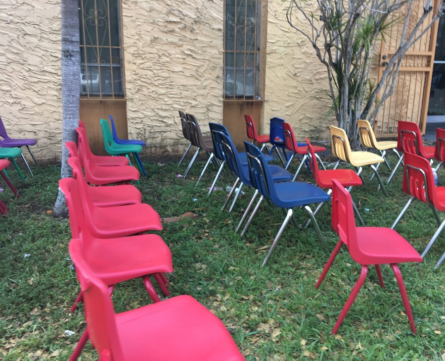 Chairs lined up outside FANM, Haitian Women of Miami, for people to looking for post-storm assistance.