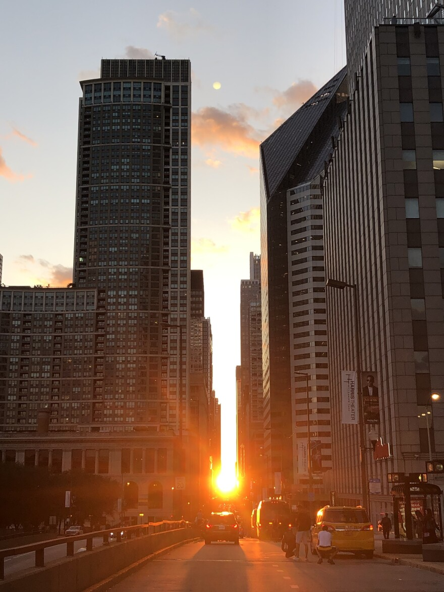 Looking west in downtown Chicago on the fall equinox, Sept. 23.