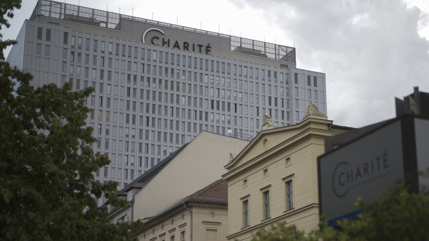 The central building of Charité hospital in Berlin, where doctors say Alexei Navalny's condition has slightly improved. The Russian activist was poisoned, the hospital says.