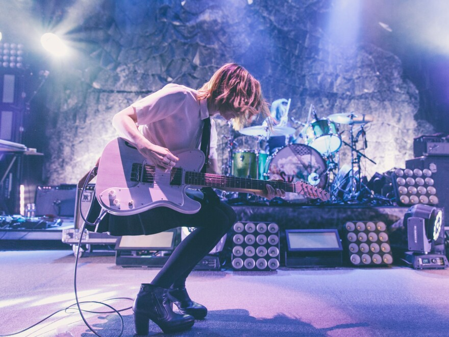 Guitarist, actor and writer Carrie Brownstein performing with her band Sleater-Kinney at the 9:30 Club in Washington, D.C.