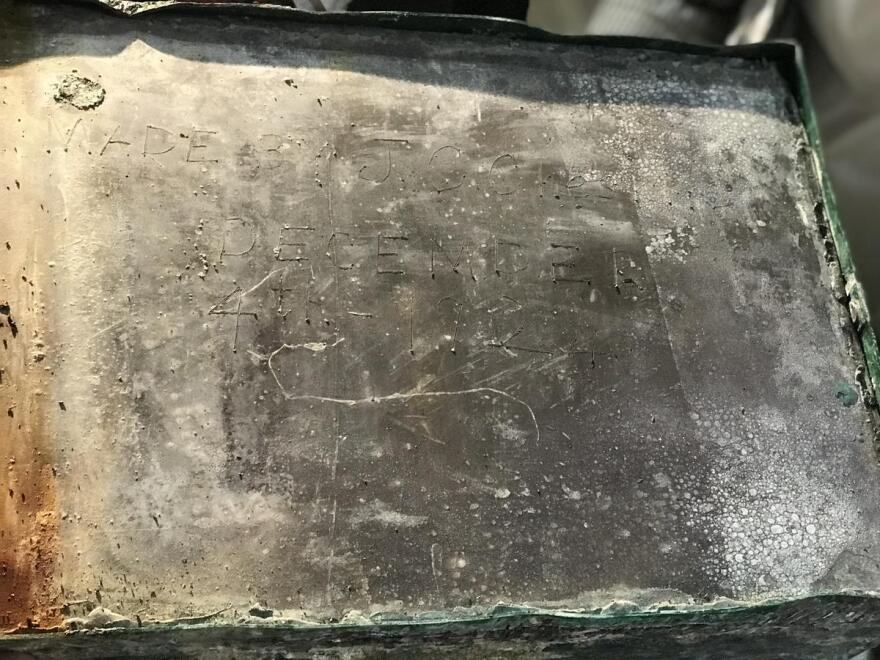 Inscription on the lead box, dated Dec. 4, 1924.