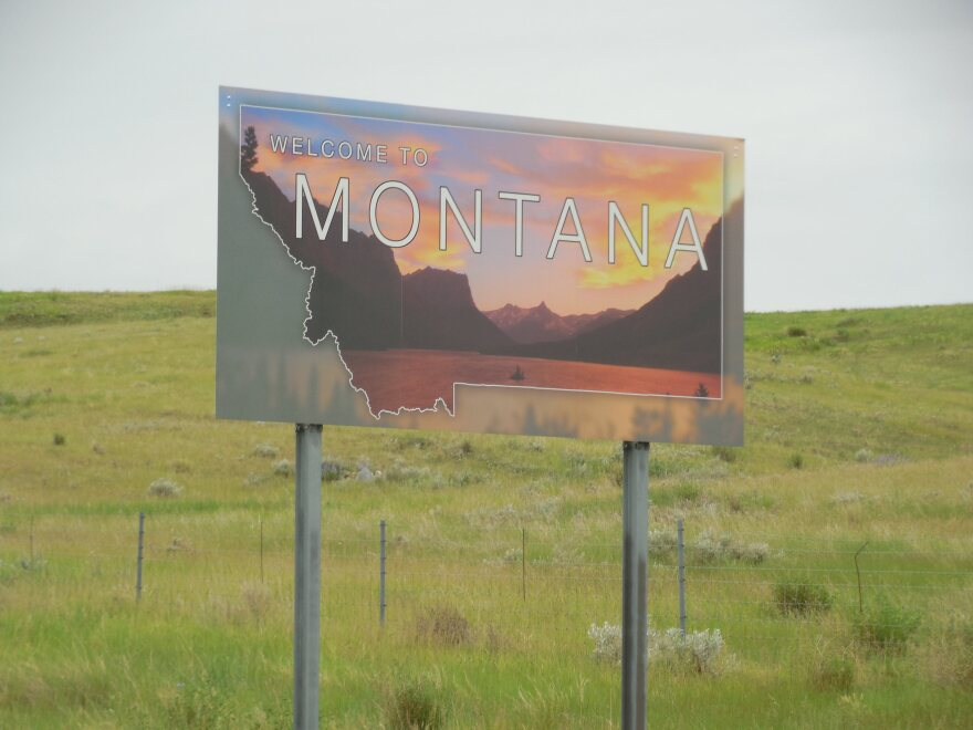 A photo of the Montana state line sign taken on June 26, 2014.