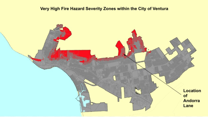 "CalFire's ""very high fire hazard severity zone"" map of the City of Ventura. Areas colored red have very high fire risk. Andorra Lane is in one such area."