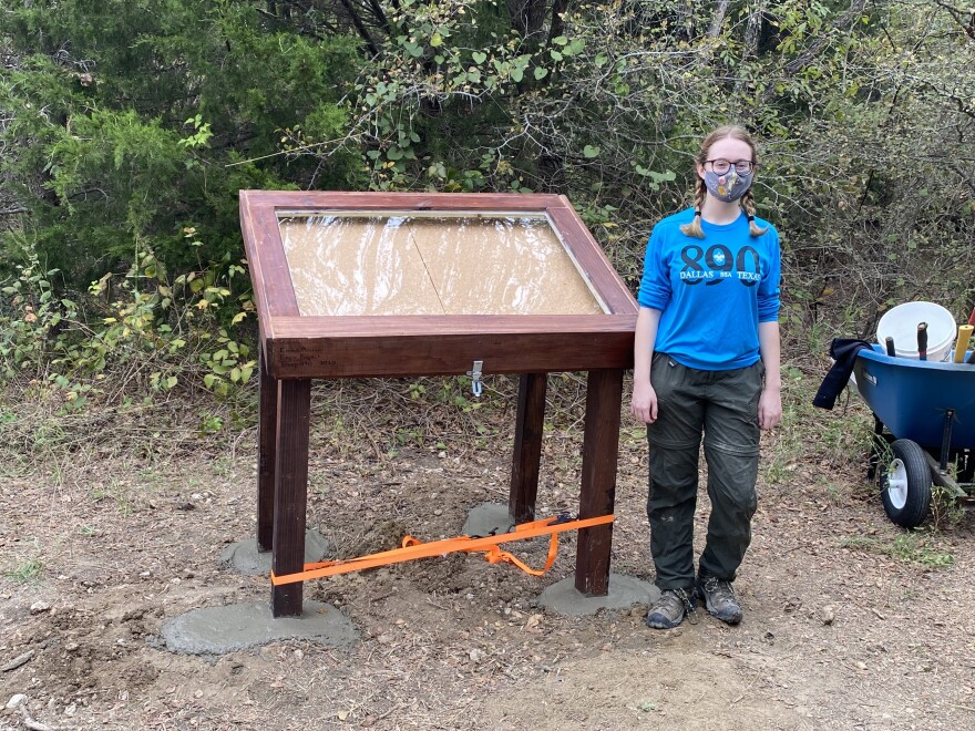 Emma Duncan's display case was finished on Oct. 17, 2020 on the Trinity River Audubon Center's primitive prairie trail. Her other display case was installed on Oct. 31, 2020 on the primitive forest trail.