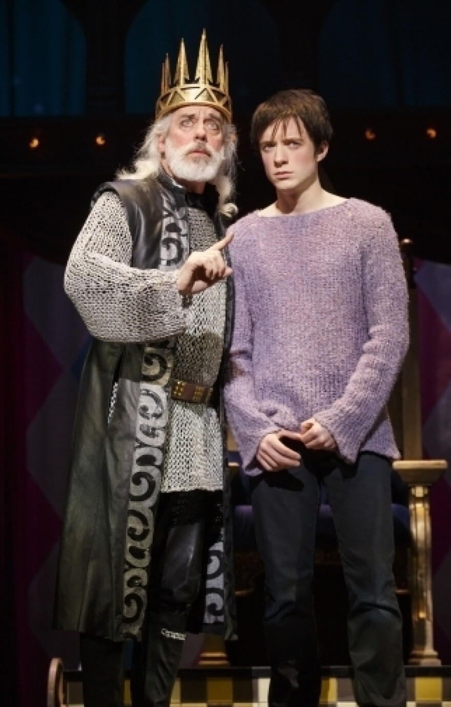 The medieval king Charles (Terrence Mann) is far too busy ruling to spend time with his easily distracted son Pippin (Matthew James Thomas).