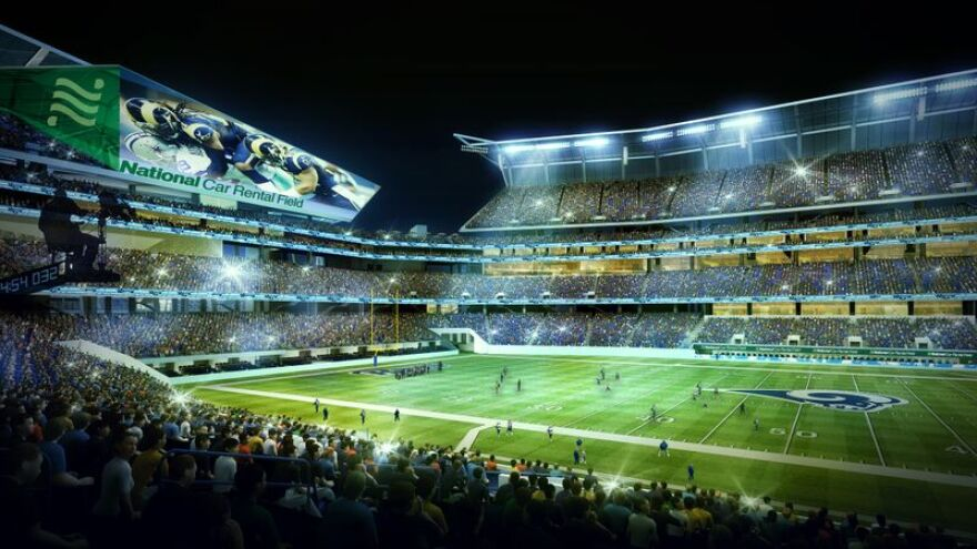 These renderings show what it would look like in National Car Rental Field. The car rental company forged a $158 million deal to name an in-flux riverfront stadium.
