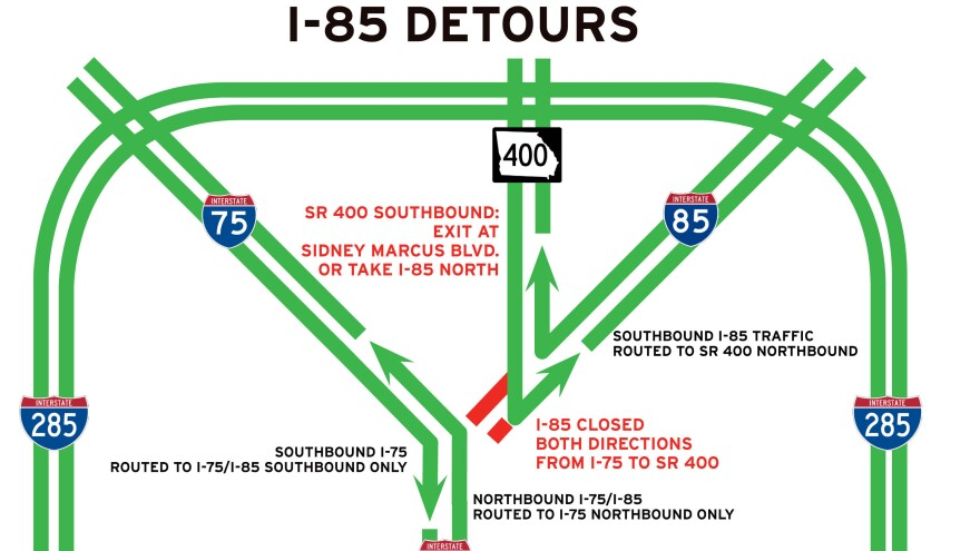 The closure of a crucial stretch of I-85 in Atlanta is seen in this image released by the Georgia Department of Transportation.