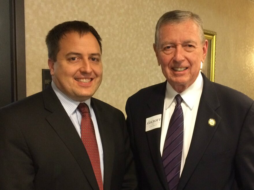 Jay Ashcroft was joined by his father, former Missouri governor and U.S. attorney general John Ashcroft.