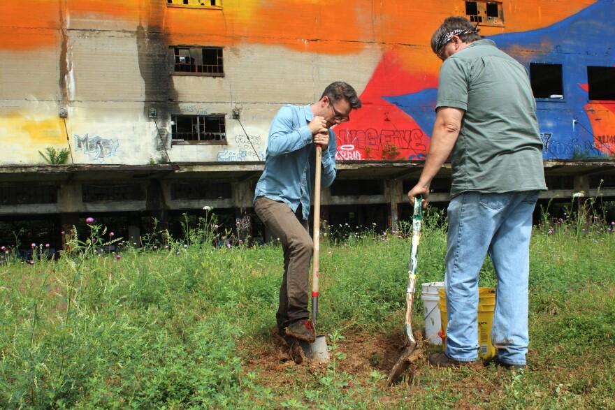 Chris Kallmyer and local artist Dan Barnett clay bells