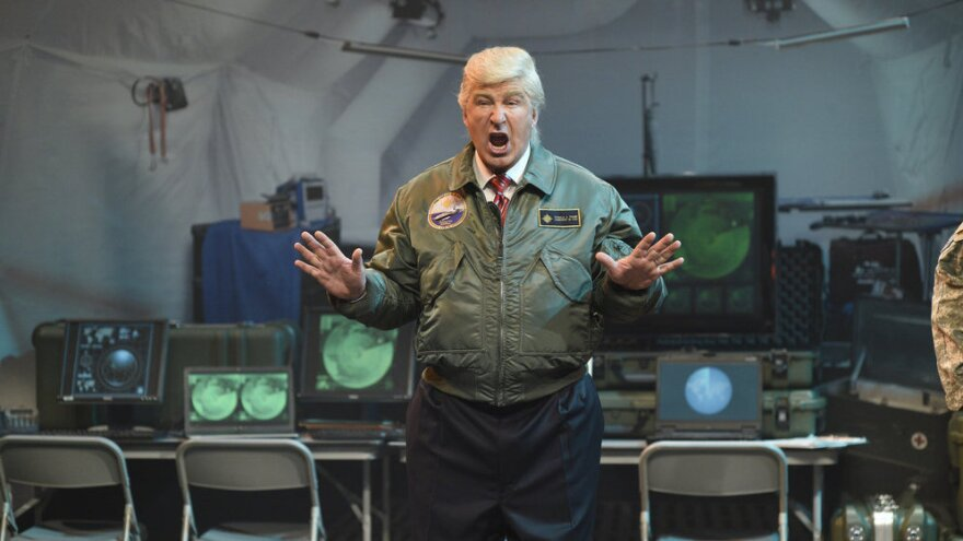 """Alec Baldwin says his <em>SNL</em> impersonation of President Trump is purposefully exaggerated, a """"Macy's Day Parade of Trump."""""""