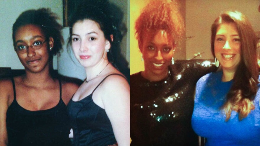 At left, Yennie Neal-Achigbu (left) and Jamie Olivieri in 1998 and at right, in 2012.