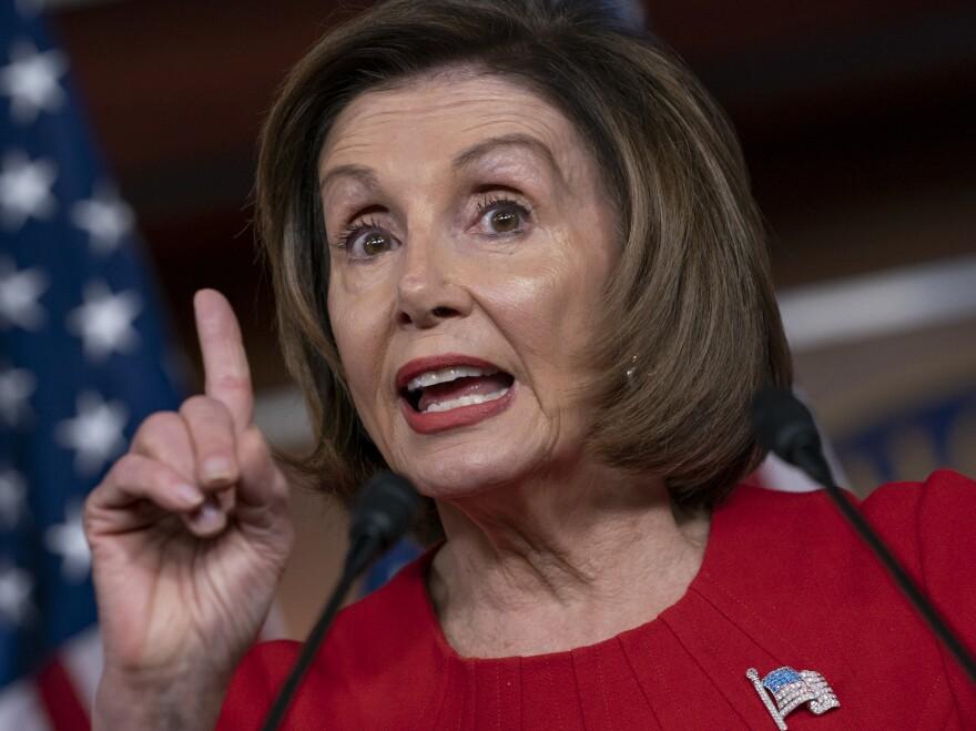 Speaker of the House Nancy Pelosi, D-Calif., talks to reporters Thursday on Capitol Hill.