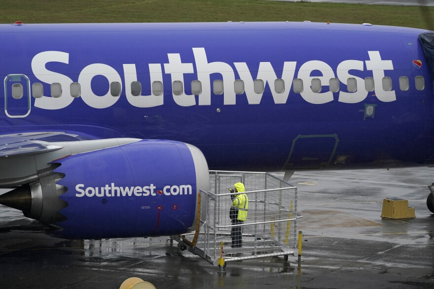 The side of a grounded Southwest Airlines Boeing 737 Max aircraft.