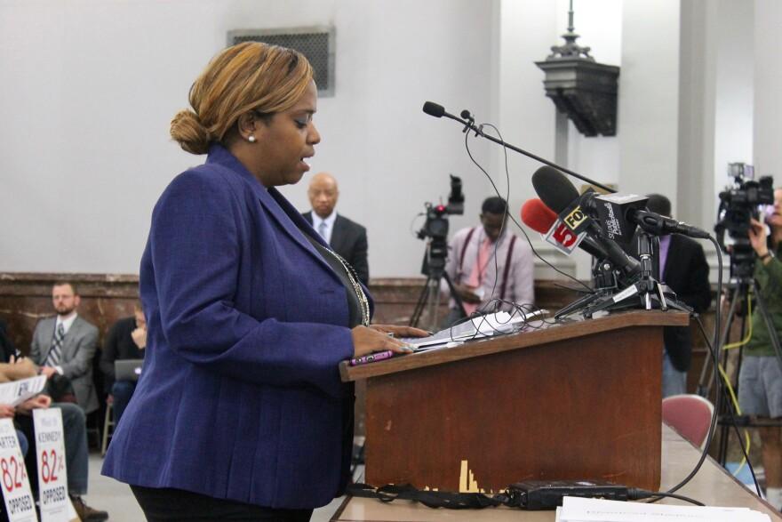 Alderman Tammika Hubbard presents her legislation on Thursday to help fund a $1 billion stadium proposal.