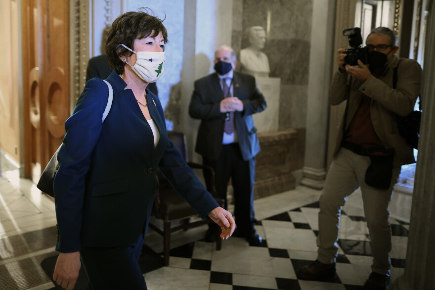 Sen. Susan Collins, R-Maine, seen here at the U.S. Capitol on Thursday, is leading a group of GOP senators who have written to President Biden with a request to detail a COVID-19 rescue counterproposal.