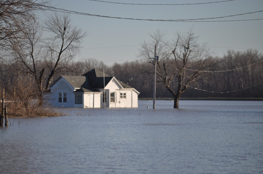 A flooded farm in West Alton, Mo. The small city sits at the confluence of the Missouri and Mississippi Rivers.