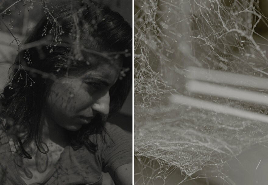 Left: A self-portrait. Right: Detail of a spiderweb at home.