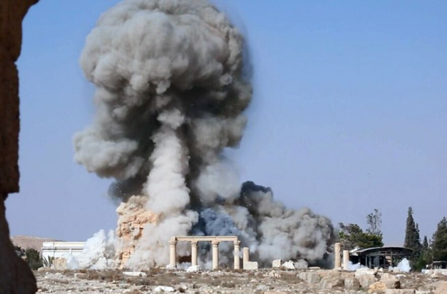 """An undated image, released by the self-declared Islamic State, apparently shows the destruction of another famous site at Palmyra: the 2,000-year-old temple of Baalshamin. The image is consistent with <a href=""""http://www.npr.org/436377457"""">reports</a> that the militant group detonated explosives around the temple about a week before destroying the Temple of Bal."""