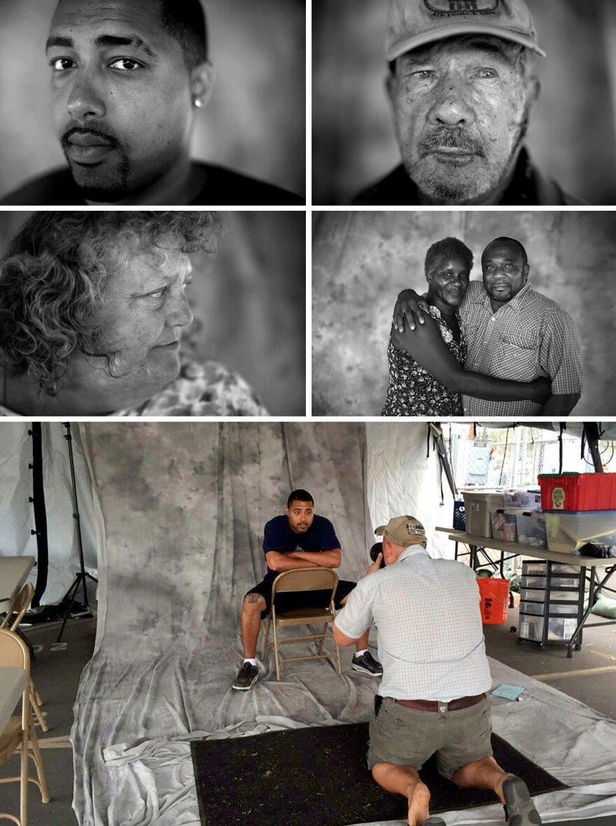 "U.S. military veterans Marcus Bennett (from top, left to right), Henry Addington, Melinda Baca and Fred E. Parks Jr. and his wife, Jessica. (Bottom) David Gilkey photographs Marcus Bennett at a pop-up studio. <em>From the story ""<a href=""http://apps.npr.org/lookatthis/posts/veterans/"" target=""_blank"">What Do Homeless Vets Look Like</a>,"" 2014.</em>"