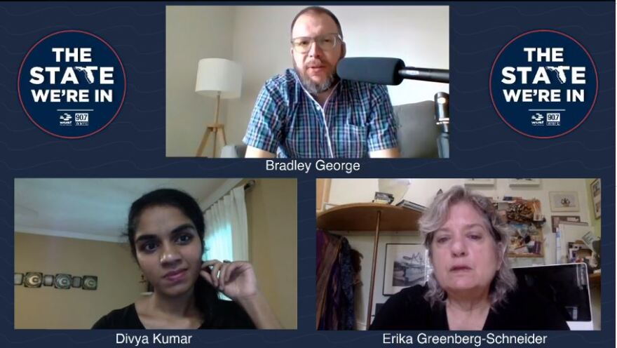 Host Bradley George (top center) speaks with Divya Kumar (left bottom), a reporter at the Tampa Bay Times, and Erika Greenberg-Schneider (right bottom), a graphic design professor at USF.
