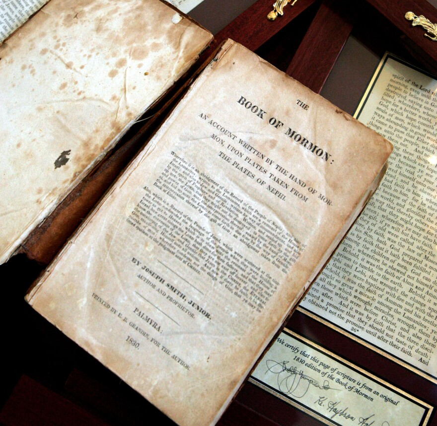 An 1830 first-edition Book of Mormon owned by retired bookstore owner Helen Schlie.