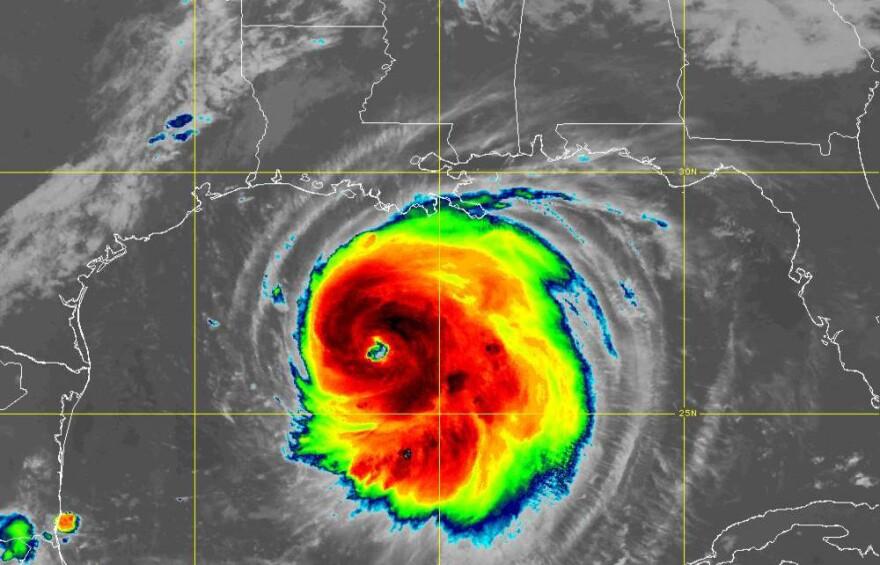 Hurricane Laura moves toward the Texas-Louisiana border Wednesday morning.