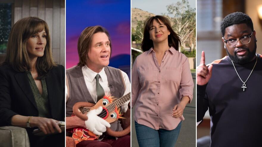 (From left) Julia Roberts in <em>Homecoming</em>; Jim Carrey in <em>Kidding</em>; Maya Rudolph in <em>Forever</em>; and Lil Rel Howery in <em>Rel.</em>